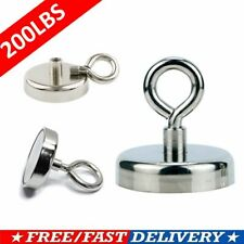2 Pack Neodymium Fishing Magnets 200lbs Pulling Force Strong Round Rare Earth