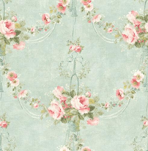 Schimmer Weiß Babyblau Rosa Tapete Schilf antik floral Designtapete