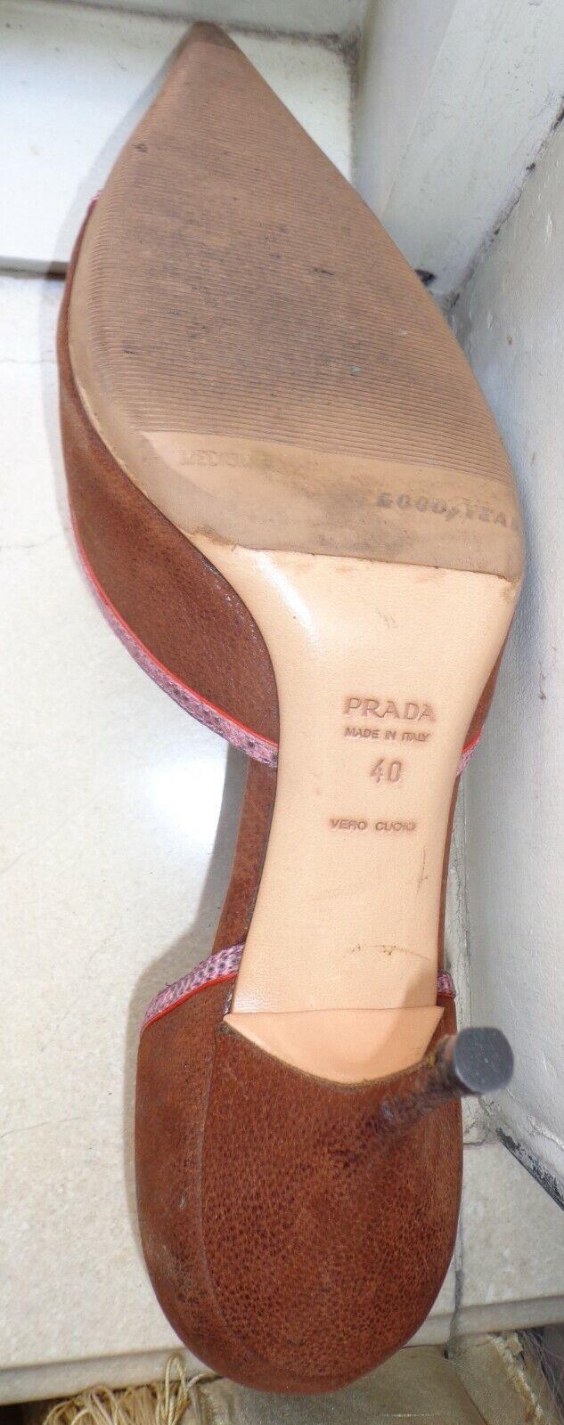 Vintage Prada 1990's D'Orsay Pumps with Pink Liza… - image 5