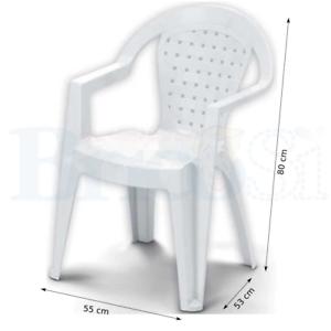 Sedie Da Esterno Con Braccioli.Poltrona Sedia In Plastica Resina Da Esterno Giardino Impilabile