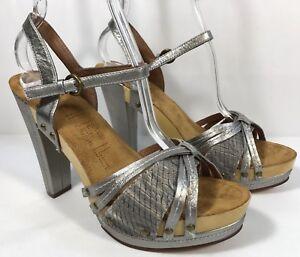 Silver Sandal Leather Slingback Ankle Amazon Strap Platform Us Biviel Details 9m About Gray xBedorC