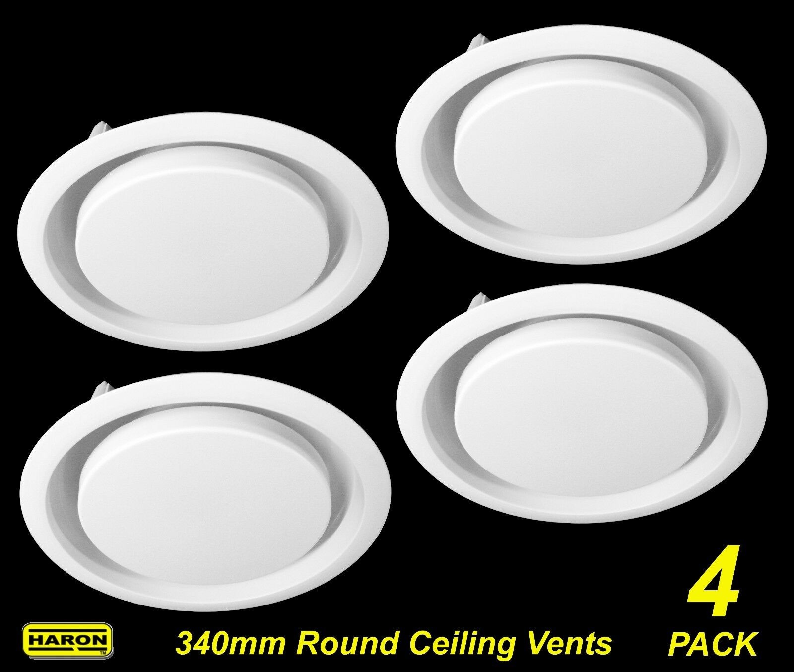4 x Ceiling Mount Round Air Vent   Grille with Flyscreen Snap-In 340mm diameter