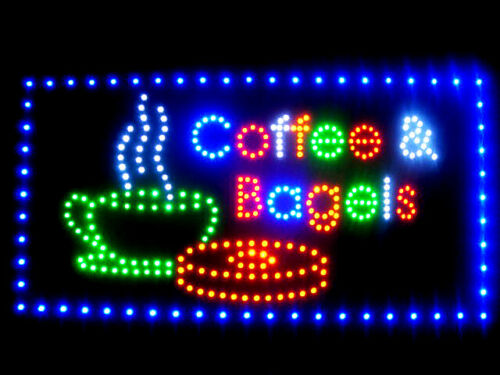 """60003 Coffee Bagels Fresh Open LED Sign 24/"""" x 12/"""""""