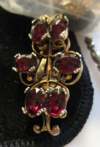Vintage estate Garnet  red stone clip-on earrings