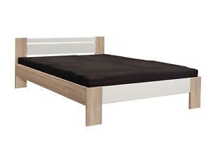 vegas singlebett jugendbett bett futonbett 140x200 eiche sonoma wei doppelbett ebay. Black Bedroom Furniture Sets. Home Design Ideas