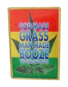 God Made Grass Marijuana Cannabis Leaf Enamel Pin Badge LAST FEW