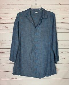 En Creme Anthropologie Women's S Small Blue Button Long Sleeve Tunic Top Shirt