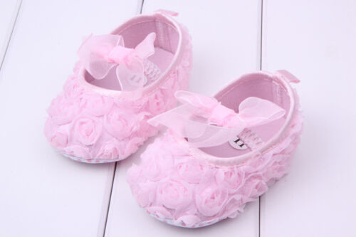 NEW Infant Baby Girl Sweet 3D Roses Rosettes Shoes 3-18 months baby pink