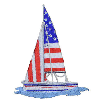 Sailboat  Embroidered Iron On Appliques x 2