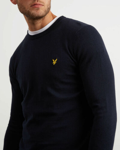 Wool Merino mondo il nave Navy in Cotton tutto Dark Vintage Kn400vc Jumper Lyle Scott O4ZXtX