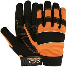 Mechanics Gloves Super Safety Work Impact Riggermen Hi-Vis Synthetic Leather LRG