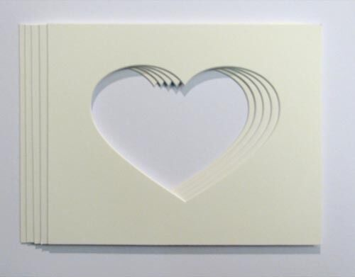 """7x5 Heart Shaped Photo Mounts to Fit 10/""""x8/"""" frames Pack of 5"""
