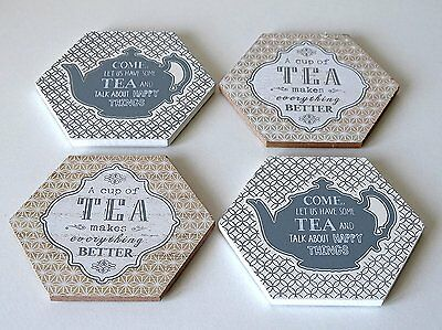 Set of 4 Coasters Tea Pot Design Coffee Drinks Wine Mats Vintage Country Style
