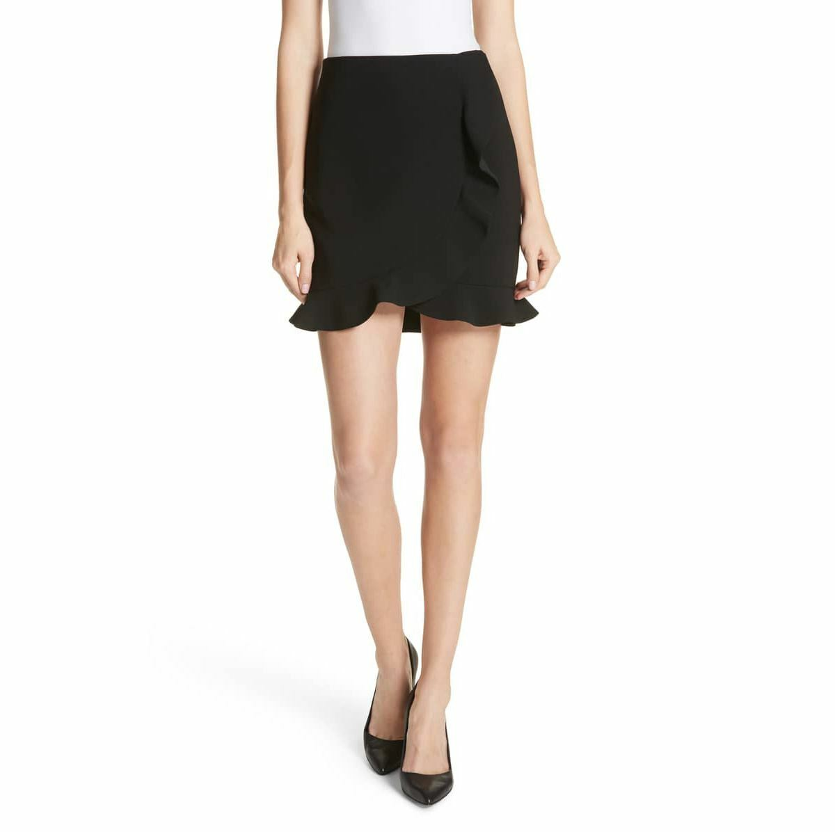 ALICE + OLIVIA WOMEN LANI OVERLAP RUFFLE MINI SKIRT