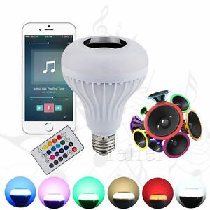 led rgb drahtlos bluetooth lautsprecher lampe birne gl hbirne mit fernbedienung ebay. Black Bedroom Furniture Sets. Home Design Ideas