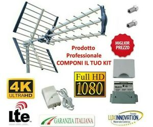 KIT ANTENNA TV DIGITALE TERRESTRE COMPLETA ALIMENTATORE AMPLIFICATORE  LTE HD 4K