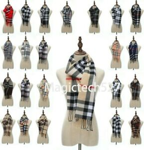 Men Women Winter Warm 100% CASHMERE Scarf Solid Plaid Wool SCOTLAND High quality