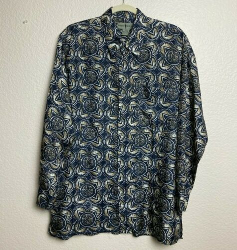 Vintage Robert Stock Geometric Silk Button Shirt S