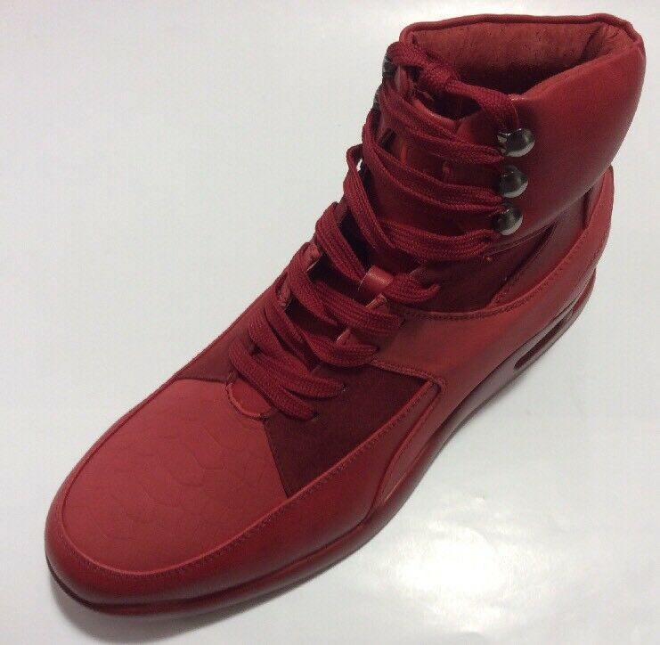 Men's SIO MELKOR Red Smooth Lace Up Sneaker Boot High Top Air Bottom New