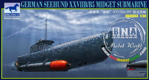 "Bronco Model kit 135 German ""Seehund"" XXVIIBB5 Midget Submarine #CB35053"