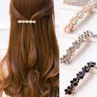 Women Girls Elegant Crystal Rhinestone Pearl Barrettes Hair Clip Clamp Accessory