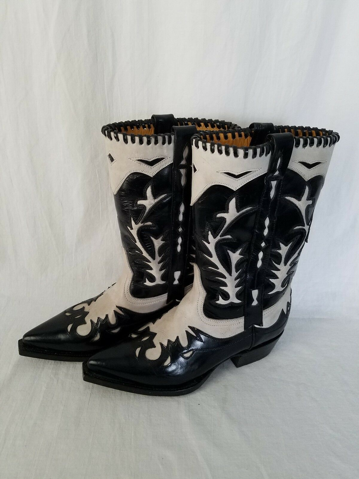 Western BOOTS AFRICAN Mens Two Tone Distressed Leather Boots NWT Size 24.5 USA 6