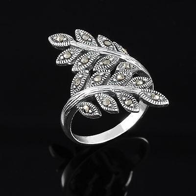 Gemondo 925 Sterling Silver 0.13ct Marcasite Art Nouveau Leaf Design Ring