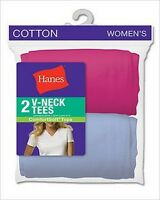 Hanes Women's Assorted Jersey V-Neck T-Shirts 2-Pack Style, 51W2AS, Many Colors