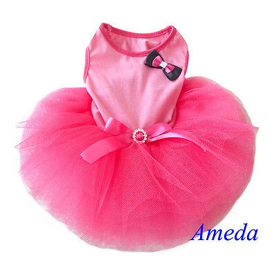 Hot Pink Tutu Bling Crystal Small Pet Dog Cat Clothes Party Dress XS-L