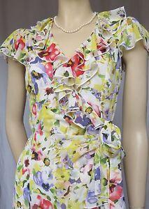 Laura-Ashley-Sommerkleid-36-Wickelkleid-Chiffon-Blumen-Hochzeit-Cocktailkleid