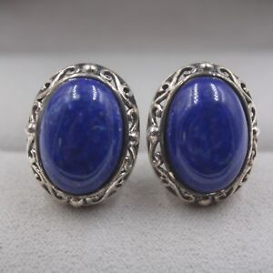 68e0a35e6 Image is loading Solid-925-Sterling-Silver-Stud-Earrings-Natural-Lapis-