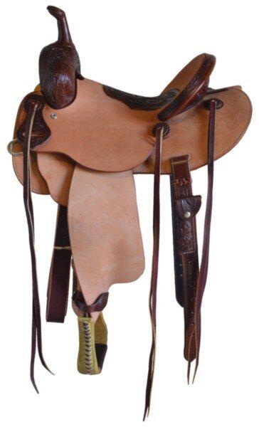 Western Natural & Brown Leather Hand Tooled Hard Seat Barrel racer Saddle 16