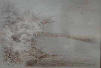 """Albert Weisskopf """" Der Rhein"""" Betitelte Grosse Sepia-zeichnung 1900-1983"""
