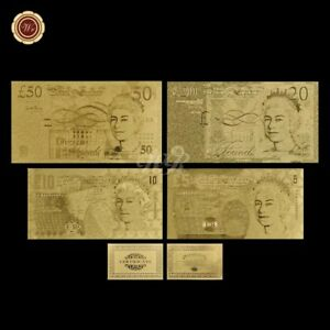 WR-24K-GOLD-Foil-Banknote-Old-Great-Britain-England-5-50-Pound-Note-Set-COA