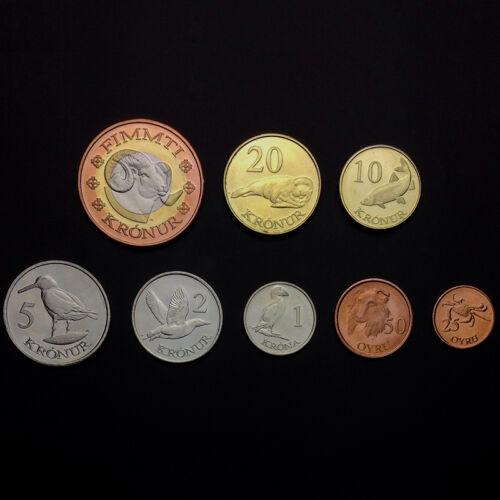 2011 25 Ore UNC/>Fantasy 50 Kronur Faeroe Faroe Islands Coins Set 8 PCS