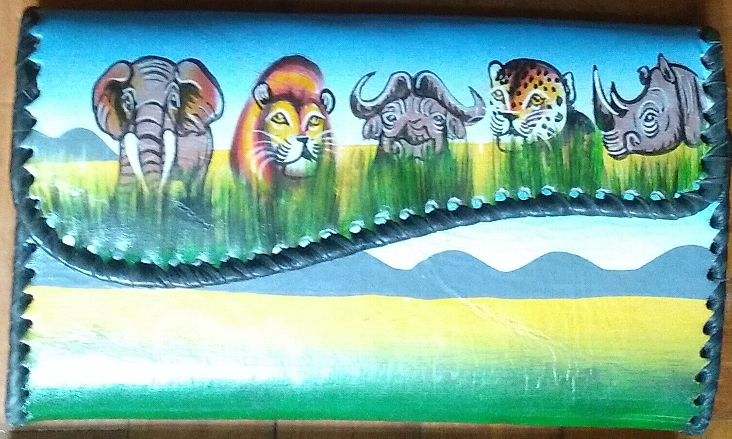 Handmade African Leather Clutch painted with Safari Big 5