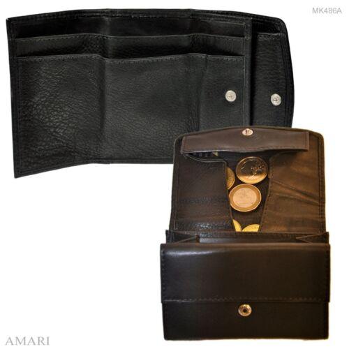 AMARI kleine Geldbörse großes Münzfach Nappaleder Portemonnaie Geldbeutel Herren