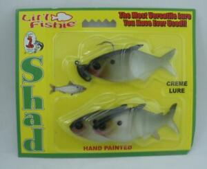 """Creme Knight 34151 Litl Fishie Shad 3"""" 1Rigged 2 Spares Color Moss 25128"""