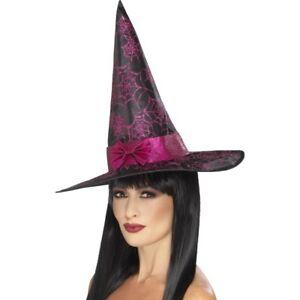 08779787f Detalles de Sombrero Bruja Negro Rosa Araña Purpurina Telaraña Disfraz de  Halloween Adulto
