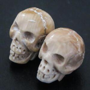 1.6cm Sculpté Manuellement Paire Tête de Mort Bois de Cerf Perle Cab Cabochon XVzmgoHL-09091045-111906552