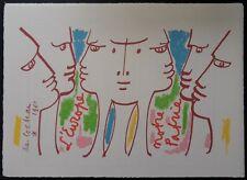 Jean Cocteau (d'après) -  Nous croyons en l'Europe - Lithographie signée