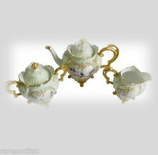 R S Prussia service set teapot, creamer and sugar gold accents - 1903 FREE SHIP