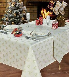 Round Circular Cream Gold Reindeer Design Christmas Tablecloth 70 178cms Ebay
