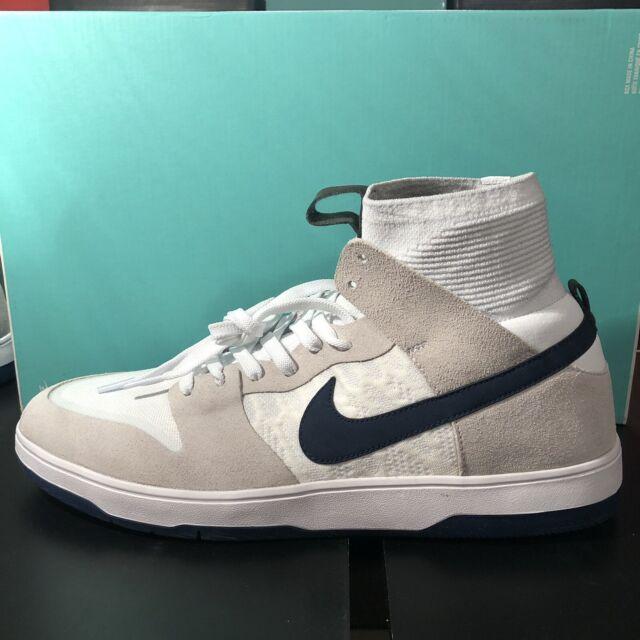 buy online 8b777 4a6a0 A1112g Nike SB Dunk High Elite QS White Navy 918287-141 Men's Size 9 Sneaker