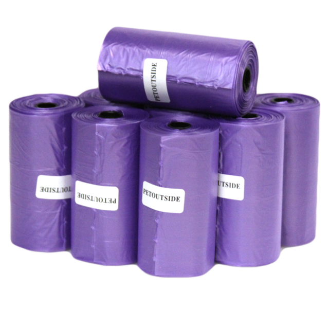1200 Dog Pet Waste Poop Bags 60 Refill Rolls with core Purple USA PetOutSide