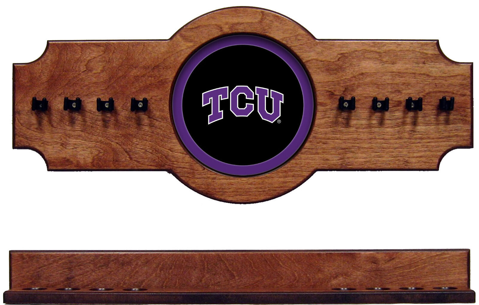 NCAA TCU 2 pc Hanging Wall Pool Cue Stick Holder Rack --Pecan