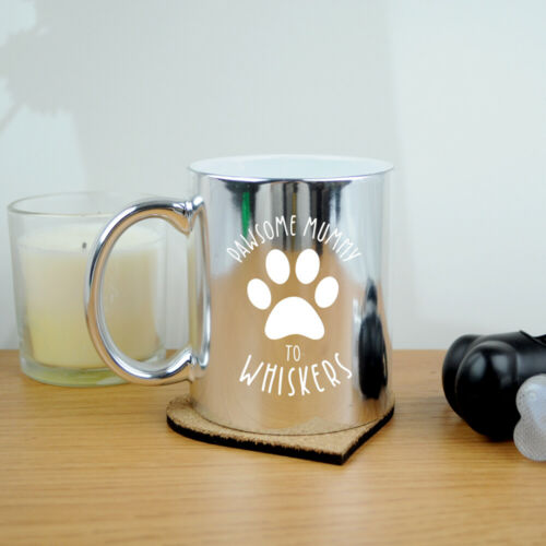 Cat Lover Pawsome Mum Personalised Silver Gold Metallic Mug Mothers Day Dog