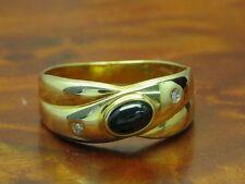 14kt 585 GOLD RING MIT DIAMANT & SAPHIR BESATZ / BRILLANT / RG 59,5 / 2,6g