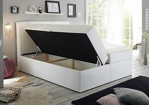 180x200 cm boxspringbett bett komfortbett hotelbett leder kunst weiss 180x200 cm ebay. Black Bedroom Furniture Sets. Home Design Ideas