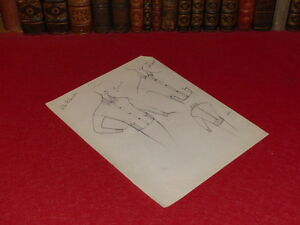 MODE-FRENCH-HAUTE-COUTURE-DESSIN-ORIGINAL-ANCIEN-Crayon-PIERRE-BALMAIN-1952-9